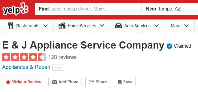 E&J Appliance Service Company Yelp Reviews